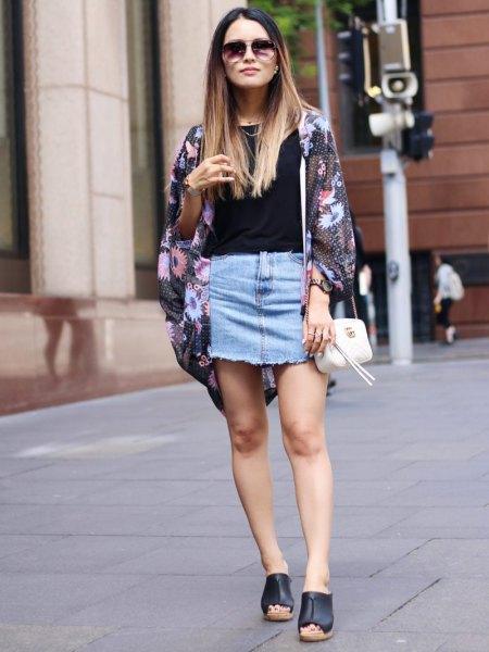 black chiffon cardigan light blue mini denim skirt