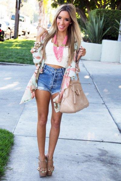 pale pink chiffon cardigan white cropped vest denim shorts