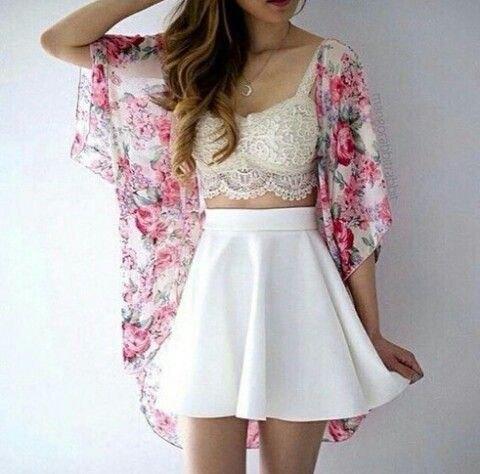 white lace bralette high waist skater mini skirt