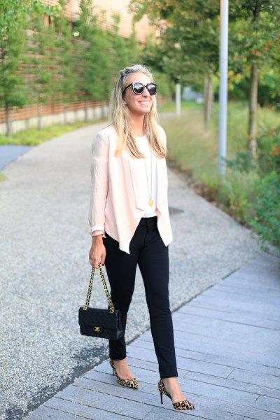 black pantyhose white casual blazer