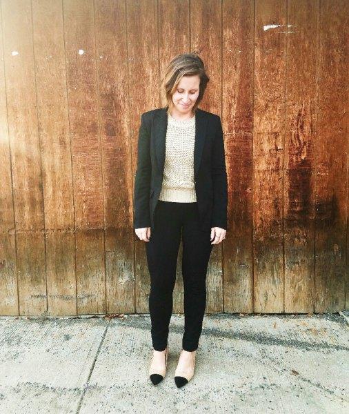 black blazer pink sweater pants