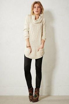 black pantyhose gray cowl neck knit sweater dress