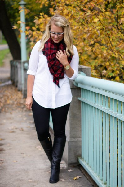 white button up shirt red and black plaid scarf