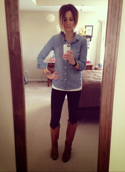 chambray shirt brown leather knee high boots