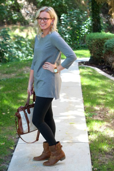 gray tunic brown boots