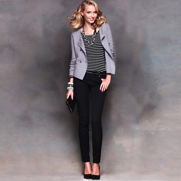 striped tee gray blazer black pants