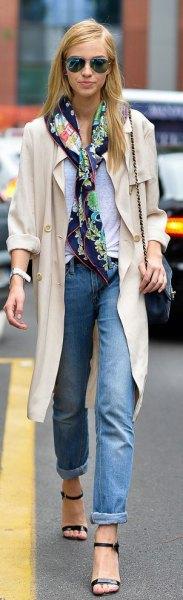 light pink long blazer navy satin scarf
