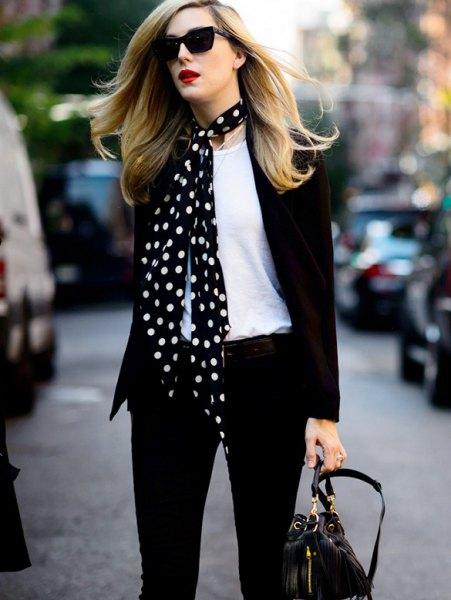 black and white satin scarf blazer skinny jeans