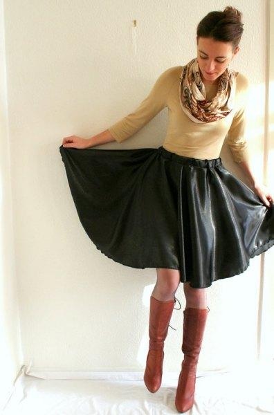 crepe sweater black leather midi skater dress