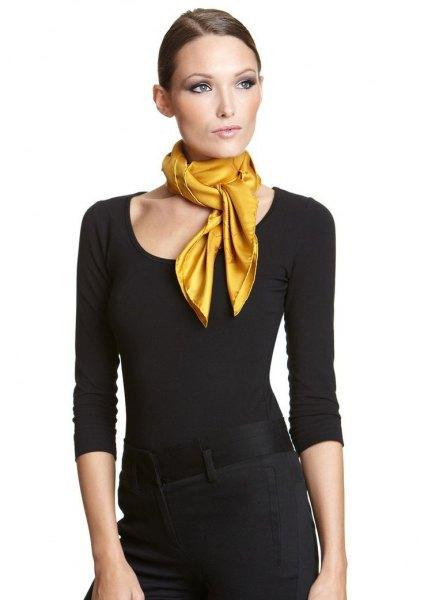 black three quarter sleeve sheath midi dress yellow scarf