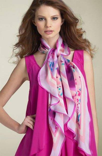 pink sleeveless chiffon plant dress
