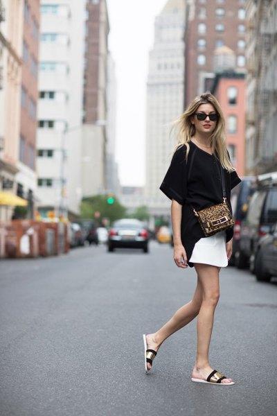 gold slip sandals with black tee white skirt