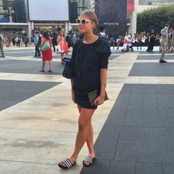 Shift mini dress black slip sandals with white stripes