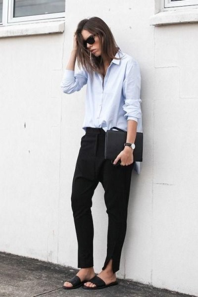 white button up shirt black chinos