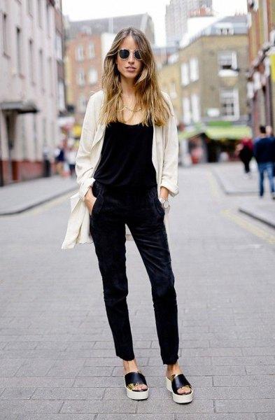 light pink cardigan black vest slip on sandals