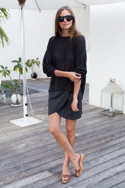 nude platform slip sandals black sweater wrap skirt