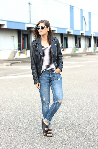 slip sandals black leather jacket ripped jeans