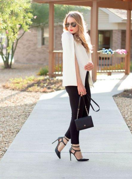 white blazer black skinny jeans strappy heels