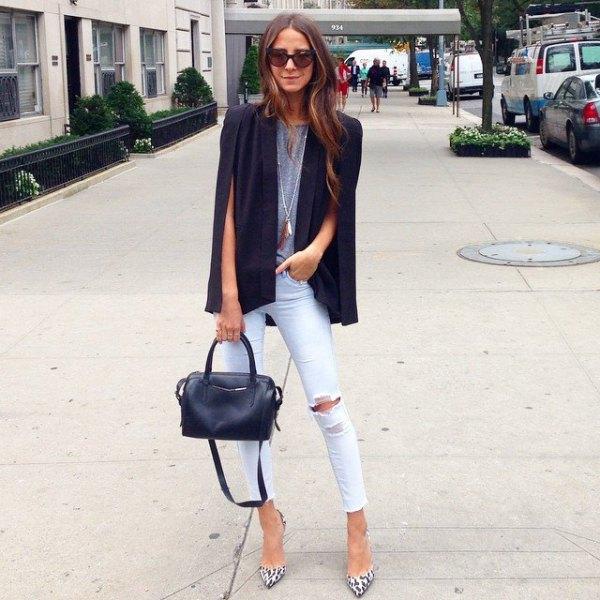 black cape blazer gray tee white ripped skinny jeans