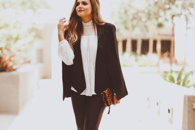 black blazer white mock lace blouse