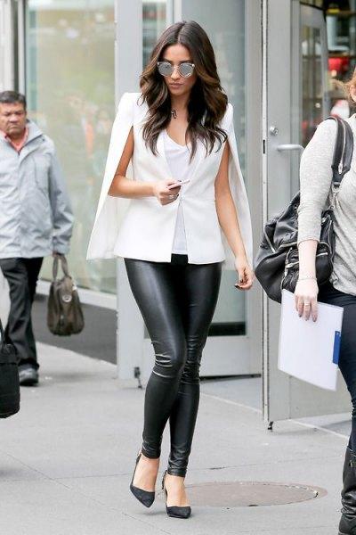 white cape blazer black leather pants