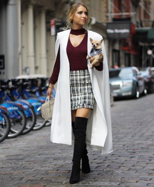 white maxi cape blazer black v-neck sweater plaid mini skirt