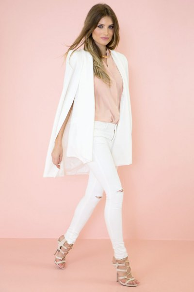 vit cape blazer blush pink pink