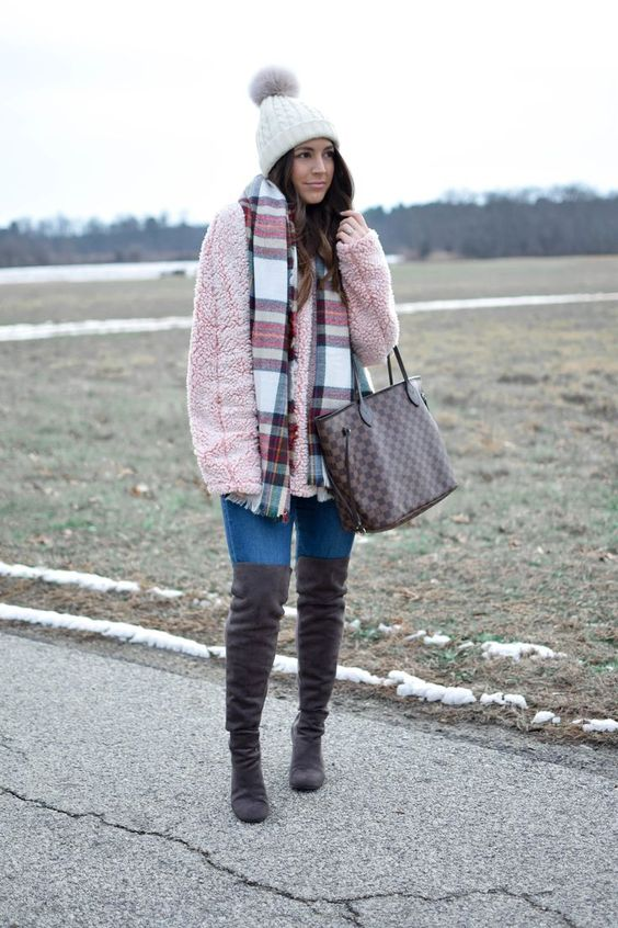fleece pullover thigh high boots