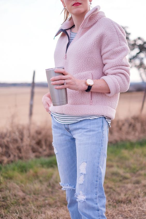 fleece pullover striped blouse