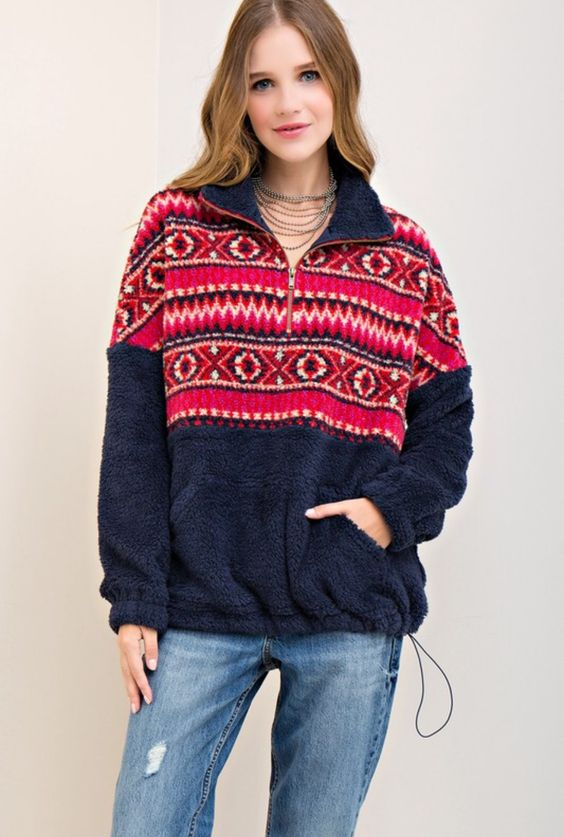 fleece pullover aztec