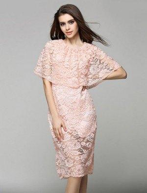 white lace cape bodycon midi dress