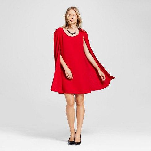 red cape shift dress black ballet heels