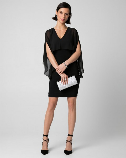 black semi sheer v-neck cape mini dress