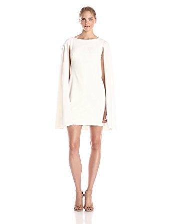white cape shift dress light pink heels