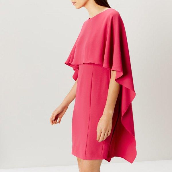 neon pink cape dress