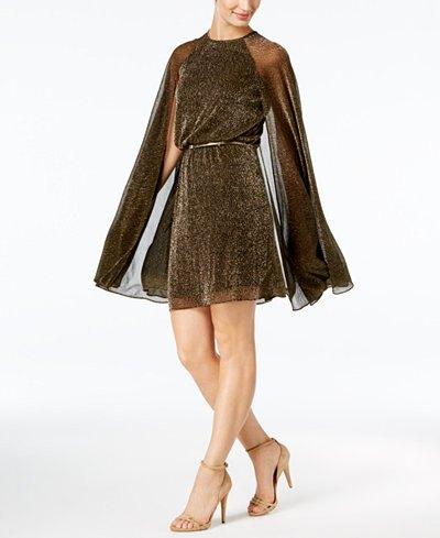 brown belt semi pure cape dress