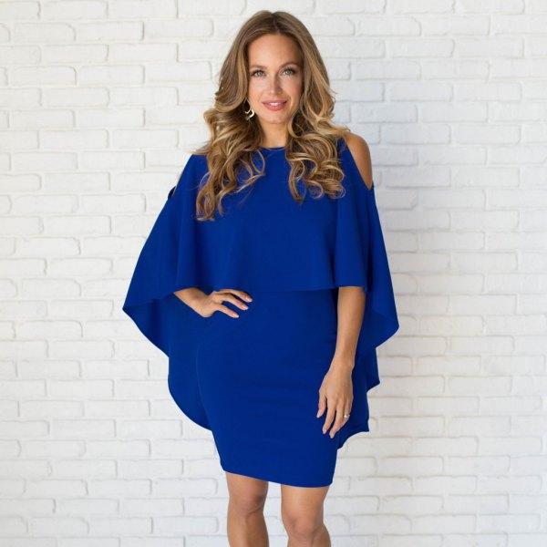 royal blue cold shoulder dress