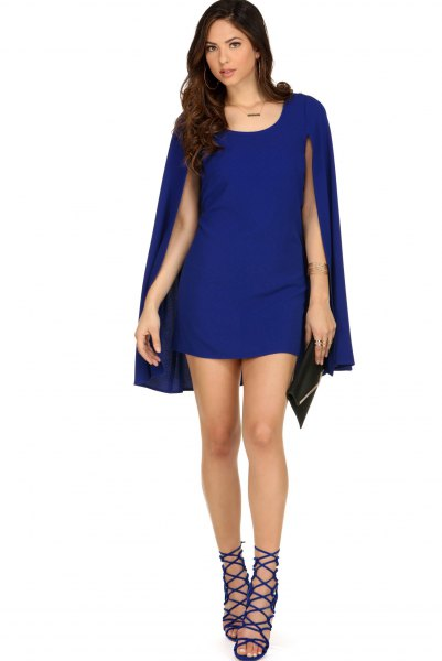 blue mini dress with buttoned flaps with open toe
