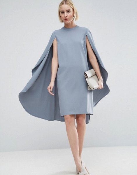 gray mock neck cape midi dress white heels
