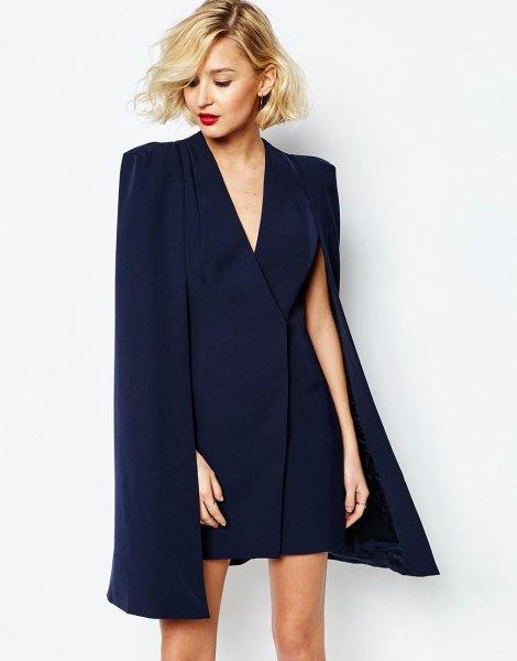 navy deep v-neck wrap cape mini dress