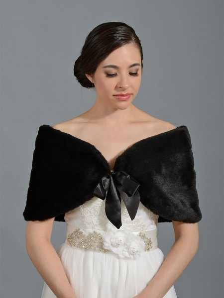 white wedding dress black faux fur shawl