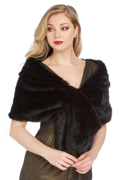 black faux fur shawl gray fit and flare mini dress