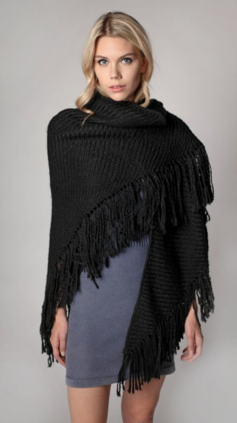 black ribbed fringed shawl gray mini shift dress