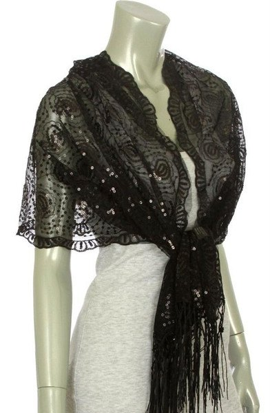 black lace shawl over light heather gray bodycon mini dress