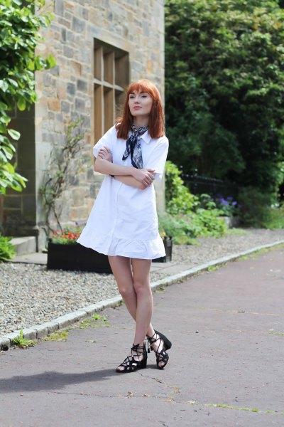 white deferred miniskirt dress navy silk scarf