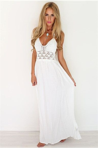 white deep v-neck crochet maxi beach dress