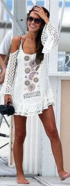 white cold shoulder crochet dress up