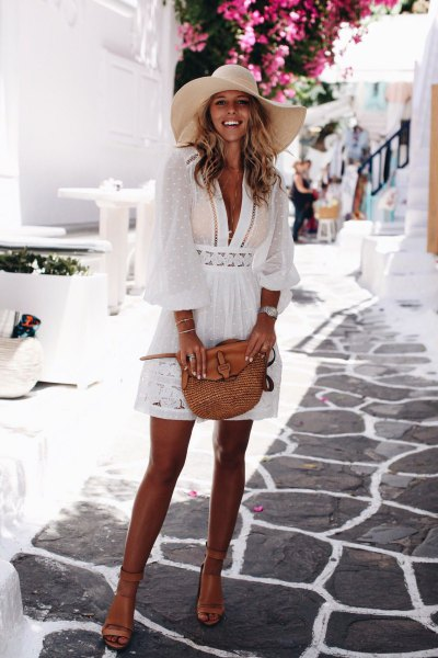 white lace semi sheer mini flare cover dress