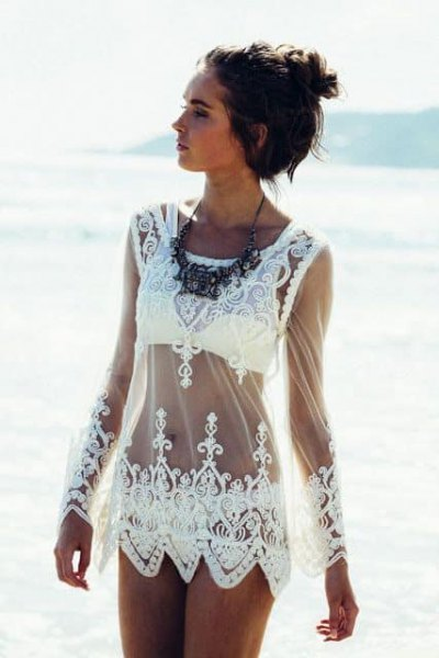 white lace sheer dress