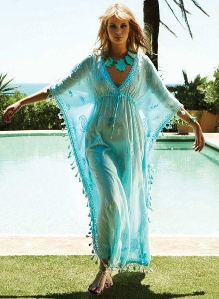 light blue chiffon maxi dress up